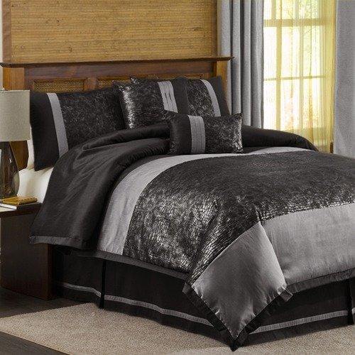 Lush Decor Metallic Animal 6 Piece Comforter Set in Black / Silver